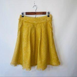 Maeve by anthropologie yellow teased tassel Skirt